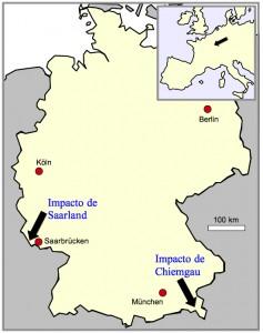 el impacto de Saarland y el impacto de Chiemgau en el mapa de Alemania