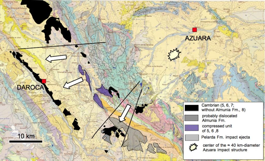 Mapa geológico (del ITGE 1991) con parte de la estructura de impacto de Azuara, modelo