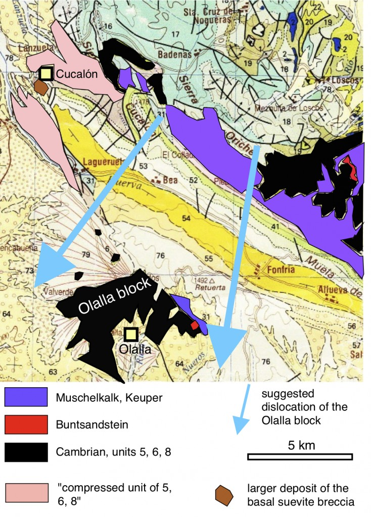 Bloque de Olalla dislocado a partir de la zona de borde de la estructura de impacto de Azuara