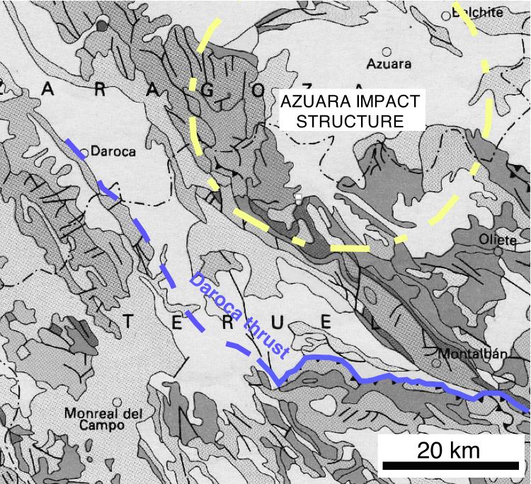 mapa: cabalgamiento de Daroca y estructura de impacto de Azuara
