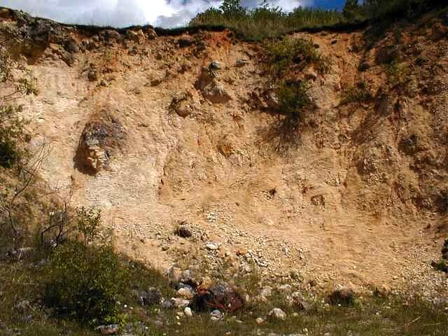 Cráter de Ries, cantera de Iggenhausen, megabloque de caliza