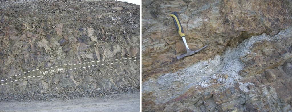 Geología Autovía Mudéjar, diques de impacto, estructura de impacto de Azuara.