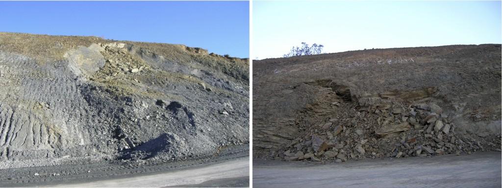 Geología autovía Mudéjar, deslizamientos acaecidos, después de la realización de los terraplenes