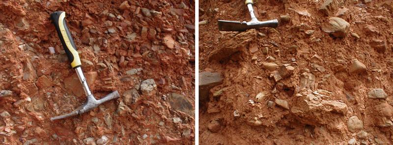 Típica textura diamíctica del Terciario bajo el cabalgamiento de Daroca