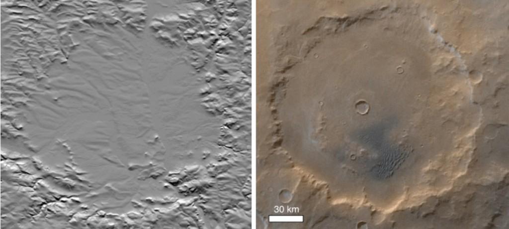 mapa en relieve del cráter Ries y una imagen del cráter Kaiser Marte