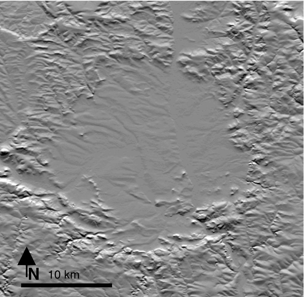 mapa en relieve del cráter de impacto de Ries en Alemania