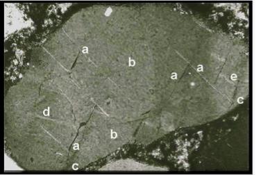 múltiples conjuntos fracturas planares en cuarzo impacto deAzuara