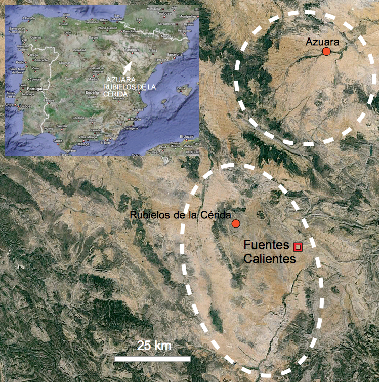 Mapa de localización afloramiento suevita Fuentes Calientes